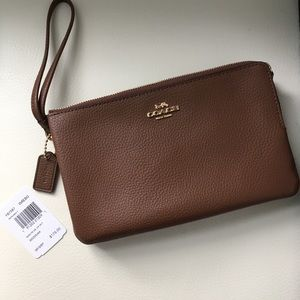 NWT Coach brown leather double zip wristlet